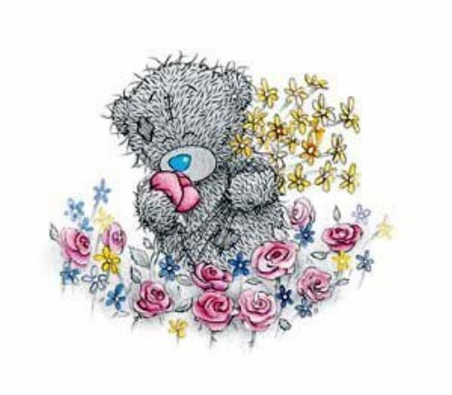 Мишка Тедди и цветы.